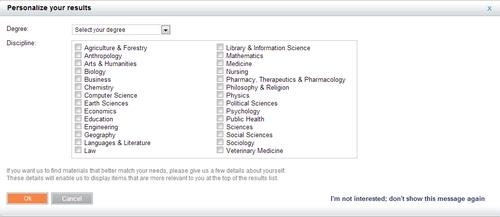 Screen shot of eLibraryUSA Catalog personalization screen